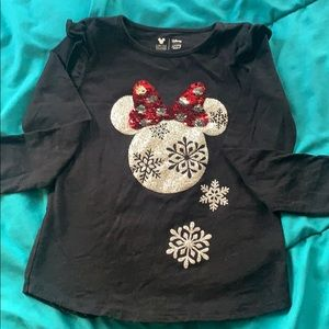 Girls long sleeve Minnie Mouse ornament shirt